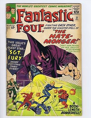 Fantastic Four 21 (Solid!) 1st Hate Monger; 1st Sgt. Fury x-over; Kirby (c#20126