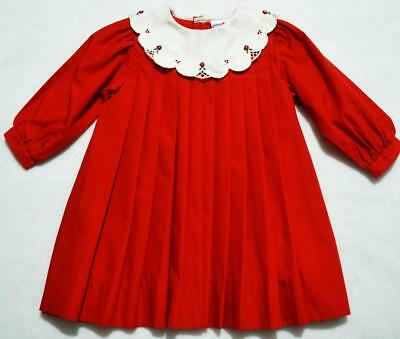 Petit Ami 6M Pleated Red Dress W/embroidered White Portrait Collar~New