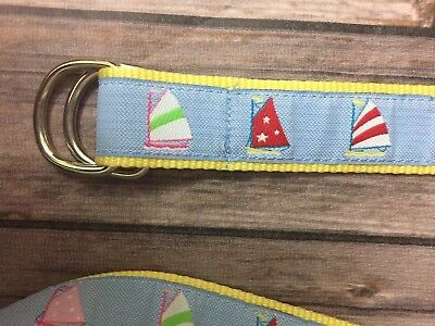 Womens Douglas Paquette D-Ring Ribbon Belt Yellow Sail Boats Large NEW HBY1