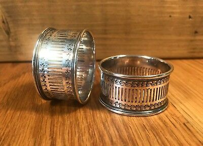 Pair of Vintage EPNS Silver Plated Napkin Rings Holders 24mm wide x 45mm across