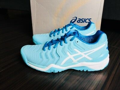 NEW Asics Womens Gel Resolution 7 Aqua Splash White Diva Blue Tennis Shoe E781Y