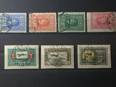 Scott #c1-C7 1921 Lithuania Stamps Used Some On Paper