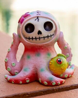 Furrybones Octopee Figurine Pink Ornament Octopus Fish Cool Skull Cute Gift Goth