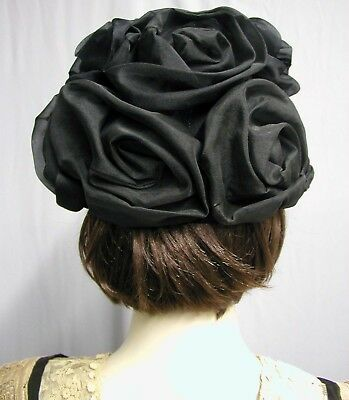 #18124, 1950's Schiaparelli Silk Organza Rose Hat Paris