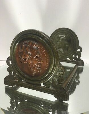 VTG. Antique LINCOLN Book Rack Expandable Bookends Judd Mfg Co Cast Iron