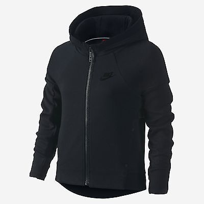 Girl's Nike Tech Fleece Hoodie 807563 010 Black Black SIZE XS