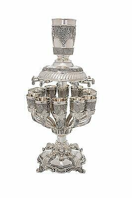 "Shabbat Kiddush Wine Fountain Grapes  Design 12 Cups - Size 22""  Big Cup - 4"""