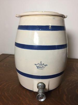 Antique ROBINSON RANSBOTTOM 2 Gallon Stoneware Water Cooler w/ Lid Spout Vintage