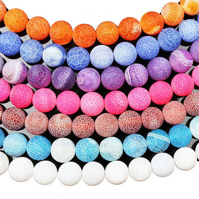 "Colorful Matte Fire Crackle Agate Gemstones Round Bead 15"" 4mm 6mm 8mm 10mm 12mm"