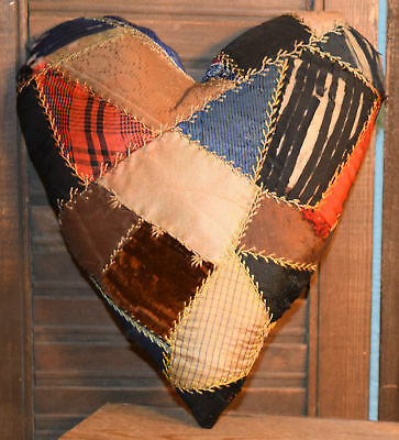 Primitive Crazy Quilt Heart Valentine Bowl Filler Cupboard Tuck