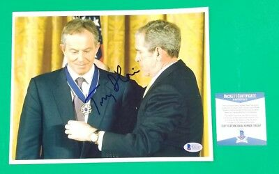 "Tony Blair Former Uk Prime Minister Signed 8""x10"" Photo With George Bush Bas Coa"