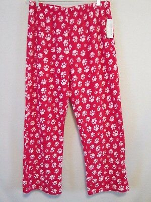 NWT Women's sz L Super Soft Red Plush Fleece Lounge Pants - White Dog Cat Paws