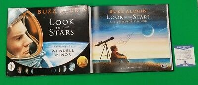 BUZZ ALDRIN SIGNED BOOK LOOK TO THE STARS AUTHENTICATED WITH BECKETT BAS COA psa