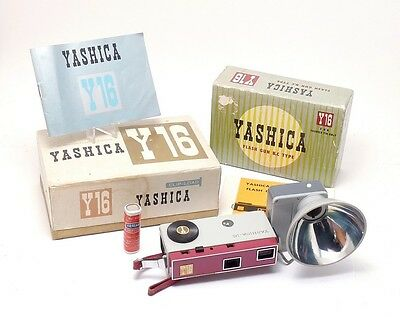 YASHICA Y16 16mm Film Subminiature CAMERA w/ RARE Y 16 FLASH & Manuals & Boxes