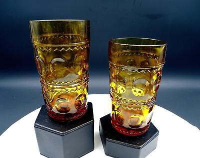 "Indiana Glass Amber Kings Crown 2 Piece 5 1/2"" Tumblers"