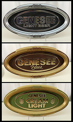 3 dif GENESEE LIGHT CREAM ALE OVAL BEER SIGN ROCHESTER NEW YORK NY GENNY VINTAGE