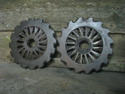 2 OLD INDUSTRIAL IRON GEARS, Antique Vtg Cast Metal Wheel Cog Wall Art Sprocket