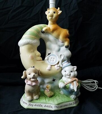 Hey Diddle Diddle The Cat And The Fiddle Cow Jumped Over The Moon Nursery Lamp