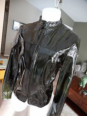 Etcetera Patent Leather Jacket Black With Green Hue Size 8