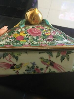antique chinese Porcelain Rose Medallion Square Tea  Caddy Box