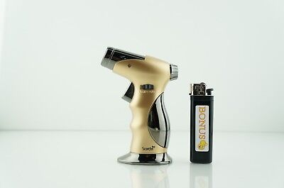 Scorch Refillable 4 Frames Torch Lighter Soft Ignition With Smiley Bonus Lighter
