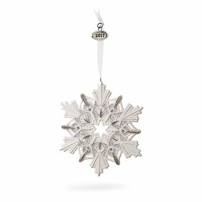 2017 Hallmark Ornament Snowflake -Porcelain - Display Ornament with creases.