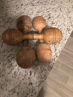 Lot of 4 Vintage Antique Wooden Dumbbell Barbell Exercise Weights