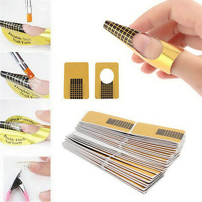 Gold Nail Art Form Sticker Self-adhesive Extension Guide Acrylic Tips UV Gel hot