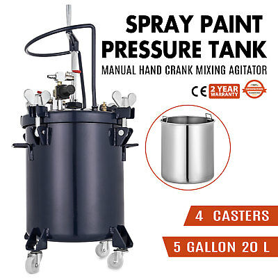 5 Gallon 20l PRESSURE FEED PAINT POT TANK Spray Gun Sprayer Regulator Agitator