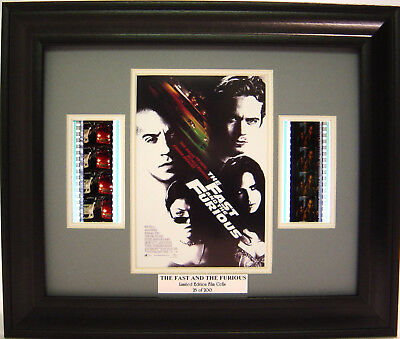 The Fast And The Furious Framed Film Cell Paul Walker