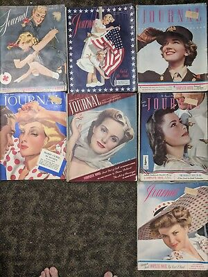 Lot of 7 Ladies Home Journal vintage magazine.  1940s. Marie Curie, WW2 WWII