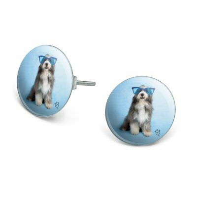Sheepdog Bearded Collie Dog Giant Blue Sunglasses Silver Plated Stud Earrings