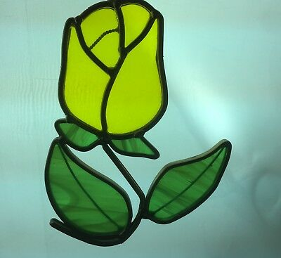 Vintage Yellow Rose Stained Glass Window Hanging Suncatcher Flower Floral Decor