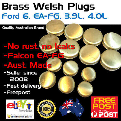 New Ford Falcon 6 4.0 EA-FG Brass Welch Welsh Freeze Core Plug Set Gallery Kit