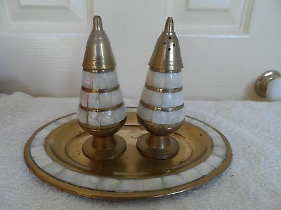 Vintage Mother Of Pearl & Brass Salt & Pepper Shakers On Tray-1950/60's Era