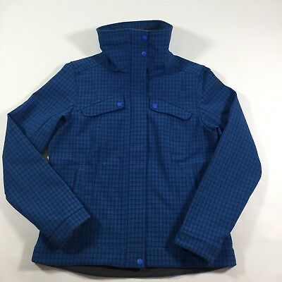The North Face Women's L Blue Plaid Softshell Wildcat Jacket