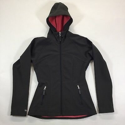 Lucy Activewear Softshell Hooded Jacket S2 Small Fleece Lined Dark Gray/Black
