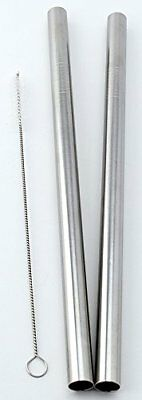 """2 Stainless Steel Straws Big Straw Extra Wide 1/2"""" x 9.5"""" Long Thick FAT -"""