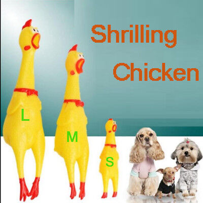 S/M/L 3 Sizes Rubber Screaming Chicken Pet Dog Funny Toys Squeaker Chew