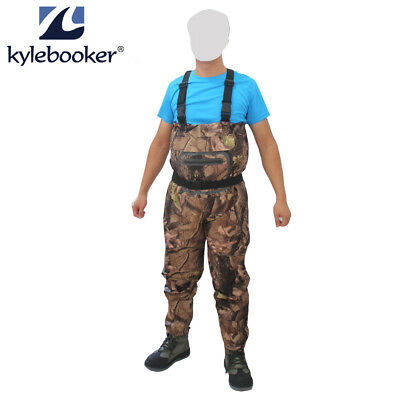 Fly Fishing Chest Waders Breathable Jumpsuits Cam Waterproof Wading Stockingfoot