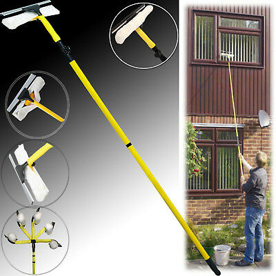 3.5M Telescopic Conservatory Window Cleaner Squeegee Extending Wash Glass Kit