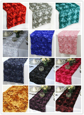"""12"""" x 108"""" Satin Ribbon Roses Table Runner Dinner Catering Wedding Party Buffet"""
