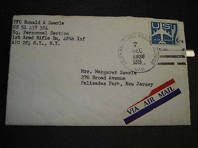 APO 28 SANDHOFEN, GERMANY 1959 Army Cover 48th INFANTRY w/ Christmas card