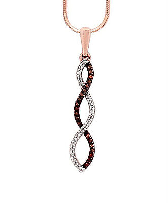 """10K Rose Gold Red and White Diamond Twisted Pendant .12ct Over 1"""" Total Drop"""
