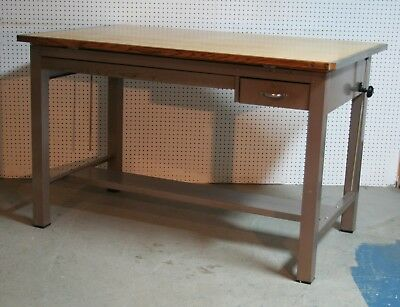 1960's HAMILTON pressed steel MAPLE double draw DRAFTING TABLE 60 x 38 inches vg