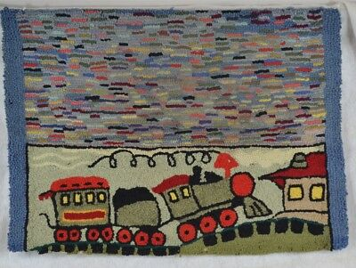 antique hooked rug wool handmade folk art original design children train