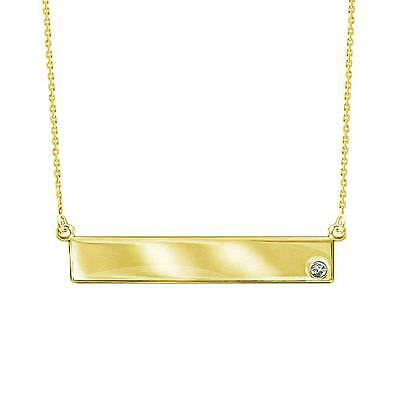14K Yellow Gold Diamond Bar Necklace w/ Adjustable Chain East West 16 - 18 inch