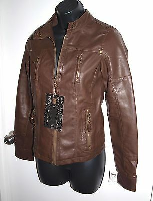 Moto Gear NEW Size XS Womens Motorcycle Jacket Crackle Faux Leather Brown