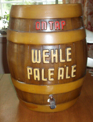 1930's WEHLE PALE ALE chalkware 3D beer keg sign West Haven Conn Brewing orig