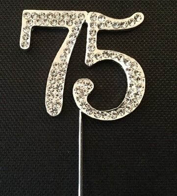 75Th Birthday Diamante Cake Topper Decoration Silver Number 75 Th Anniversary Uk